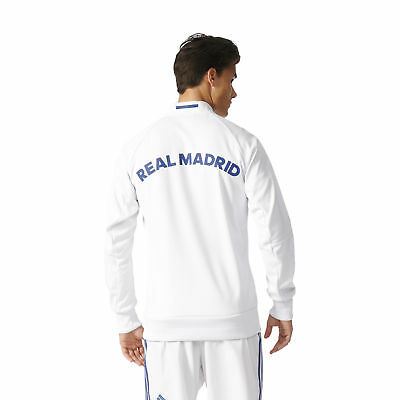adidas Mens Gents Football Soccer Real Madrid Anthem Jacket Top - White
