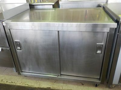 3.5' ALL stainless steel 2 sliding door cabinet on casters