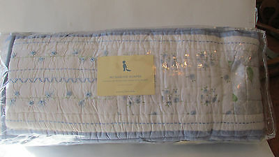Pottery Barn Kids Baby Crib JACQUELINE Bumper Pad ~ Country Blue Embroidered