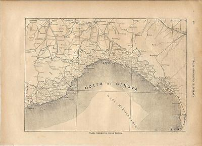 Carta geografica antica LIGURIA 1891 Old antique map