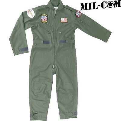 Mil-Com Kids Flying Suit Age 3 - 12 Army Boys Pilot Fancy Dress Overalls