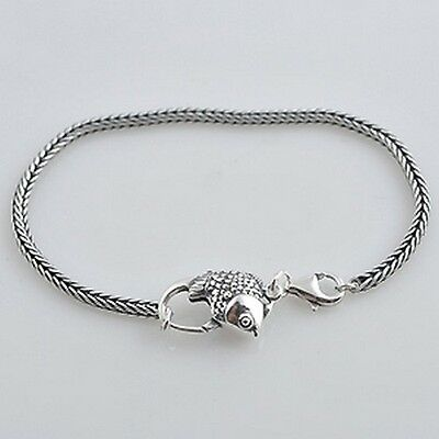CHARM BRACELET 3mm foxtail European Solid 925 Sterling silver- Fish clasp option