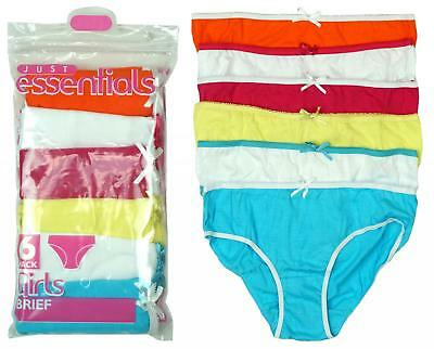 Girls Pack of 6 Plain Bright Cotton Briefs Knickers Underwear Pants 2 to 13 Yrs