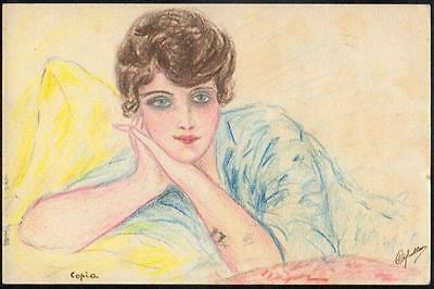 Postcard Art Deco 1918 - Hand- Coloured Picture of Beautiful Woman - Signed