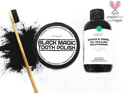 ACTIVATED CHARCOAL TOOTH POLISH +100ml  OIL PULLING MOUTHWASH + TOOTHBRUSH