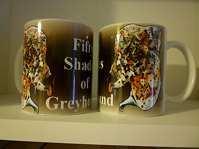 Pair of Greyhound Dog Mugs, 50 Shades of Greyhound Design with 50 Actual Greys