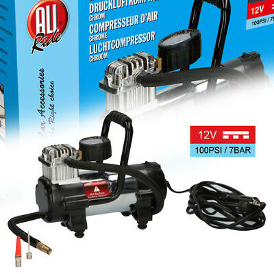 Compressore Aria 12V Portatile Per Auto Moto 100PSI 7BAR Con Accessori All Ride