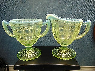 Antique IMPERIAL #710 BEADED BLOCK Canary Yellow Opalescent FOOTED CREAMER SUGAR