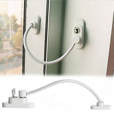 Lockable Window Security Cable Lock Door Restrictor Child Safety Stainless Key