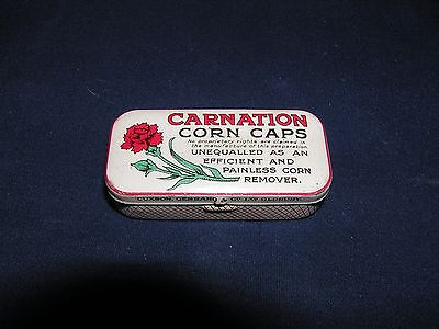 Vintage Carnation Corn Caps Rectangle Shaped Tin with Carnation Graphics