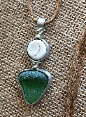 "Sea Glass Jewelry Necklace 24"" Cotton Cord Casual Hawaii Men Women Eye Of Shiva"