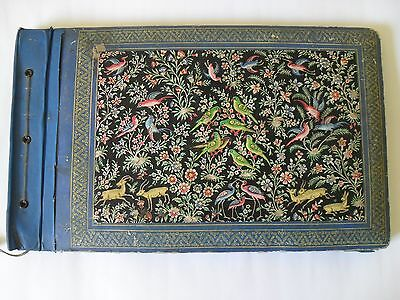 Antique Persian Qajar Miniature Photo Album.book Cover Paper Mache Painted Art