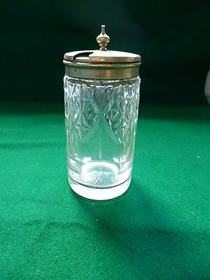 Antique Cut Glass Mustard Pot With Epns Hinged Lid