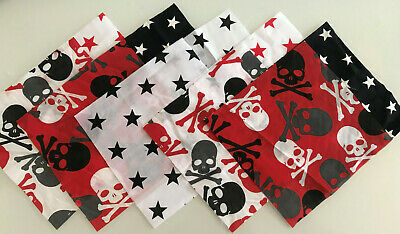 Skulls Red Mix Patchwork Craft Fabric Material Bundles - Choose Size+Quantity