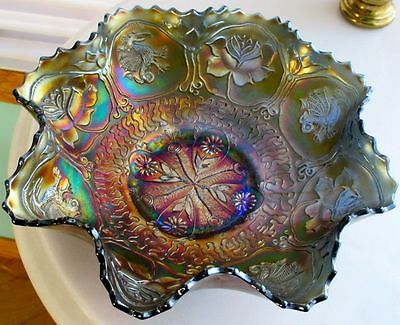 Fenton Large Dragon & Lotus Art Deco Period Carnival Glass Ruffled Bowl 1920s