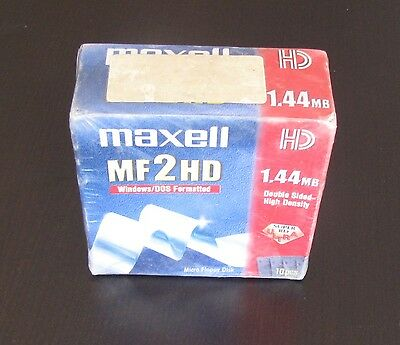 Maxell MF2HD 1.44MB Floppy Disc 10 Pack New & Sealed