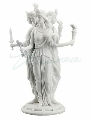 Greek Goddess of Magic Hecate Statue Marble White Finish Hekate Sculpture