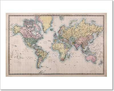 Old World Map Canvas.Old World Map On Mercators Art Print Canvas Home Decor Wall Art