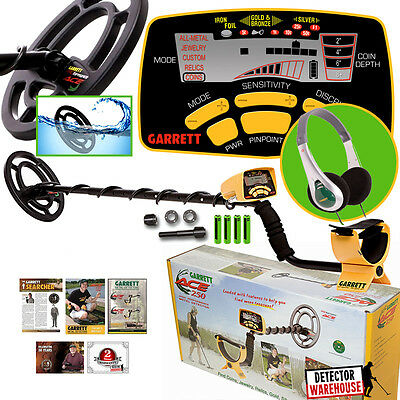 Garrett Ace 250 Metal Detector w/ WaterProof Coil and TreasureSound Headphones