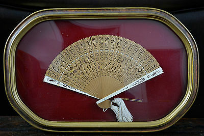 Custom Framed Chinese Canton Export Brise Fan Carved Reticulated Sticks