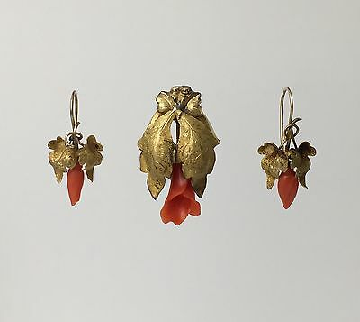 14K Victorian Coral Floral Demi Parure Set Earrings and Brooch