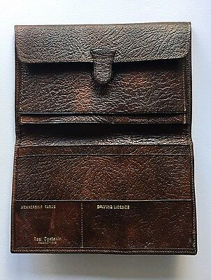 Vintage Men's Brown Goatskin Leather Wallet - Made in England British VGC