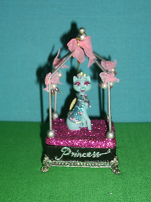 Blue Princess Cool Cat Box Ornament or Box by Katherines Collection Retired Line