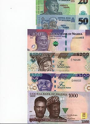 NEW:Nigeria Banknotes Set, all UNC, P-New 2016 (20, 50,100,200, 500,1000 Naira)