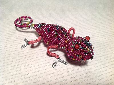 Pink Beadwork Gecko Iguana Wired Sculpture