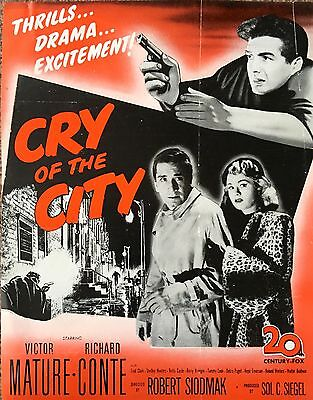 'cry Of The City' Victor Mature / Richard Conte Original 1948  Film Flyer