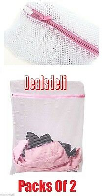 2 x ZIPPED LAUNDRY DELICATE CLOTHES MESH NET BAGS SOCKS BRA LINGERIE WASHING