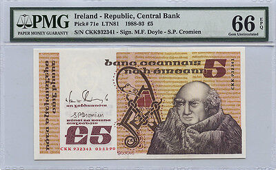 Ireland Republic Central Bank 5 Pounds PMG  66 Gem Uncirculated EPQ