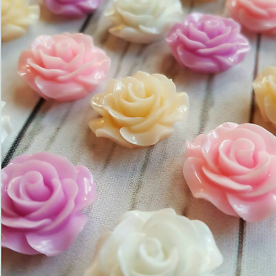 10 x 14mm / 20mm Resin Roses Flatback Cabachon Wedding Cream White Pink Cabochon