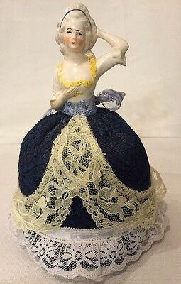 "Antique 8.5"" Victorian Porcelain Half Doll Pin Cushion Needle Holder"