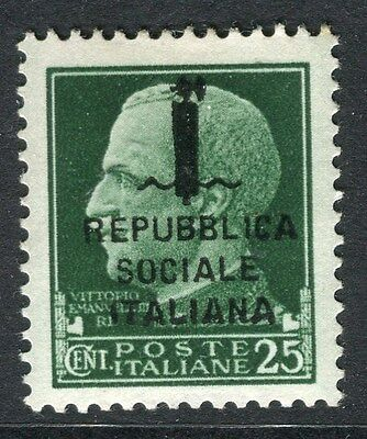 ITALY;  1944 early 25c. fine Mint MNH Rep. Sociale Optd. issue