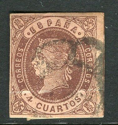 SPAIN;  1862 early classic Isabella imperf  issue 4c. used value