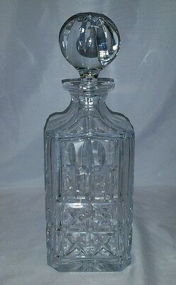 Square Crystal Whiskey-Bourbon Decanter W/ Stopper