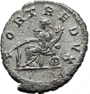 GORDIAN III 240AD Authentic Original  Ancient Silver Roman Coin Fortuna i59141
