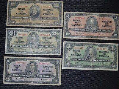 Bank Of Canada 1937 $100 $20 $10 $2 $1