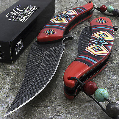 "8.5"" NATIVE AMERICAN RED SPRING ASSISTED FOLDING KNIFE Open Indian Assist Blade"