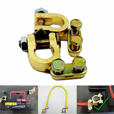 Top BATTERY TERMINAL CONNECTOR PAIR BRASS CLAMP POSITIVE AND NEGATIV