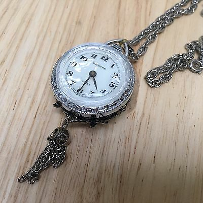Vintage Lucerne Lady Sterling Tone Art Deco Hand-winding Pocket Watch Hour~Chain
