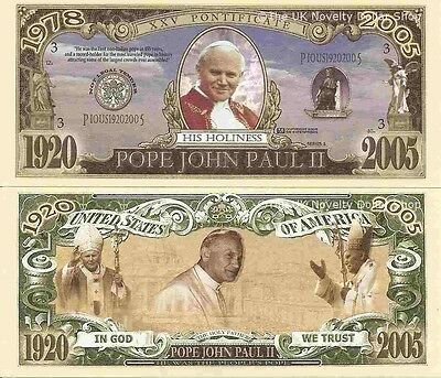 Pope John Paul II Commemorative Bills x 4 Limited Edition Holy Father 1920-2005