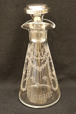Hawkes Sterling Silver & Etched Glass Oil & Vinegar Cruet   - Signed