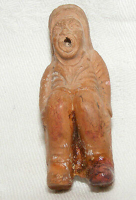 Antique Ancient? Terracotta Clay Seated Figure Poss Pre Columbian Asian