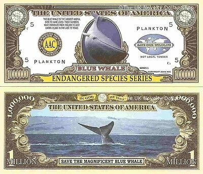 Blue Whale Endangered Species Million Dollar Bills x 4 Save Our Wildlife