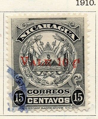 Nicaragua 1910 Early Issue Fine Used 10c. Surcharged 128377