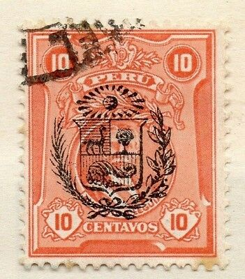 Peru 1909 Early Issue Fine Used 10c. Optd 128649