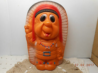 Vintage 1970's Reliable hard plastic indian chief coin bank made in Canada