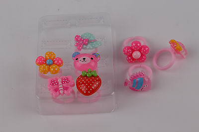 8 PC multicolor random children acrylic jewelry ring ring princess girls present
